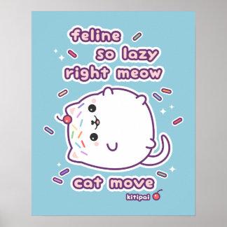 Chalaça preguiçosa engraçada do gato póster
