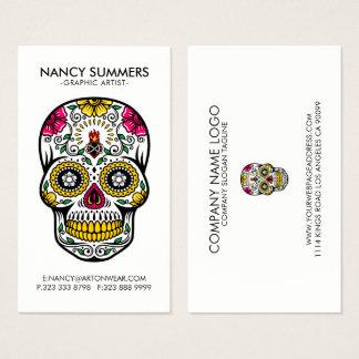 Chama interna do crânio colorido do açúcar cartão de visitas