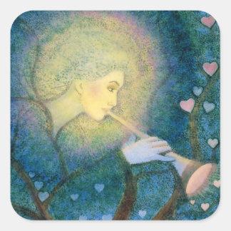 Chamada de amor musical dos corações do anjo da adesivo quadrado