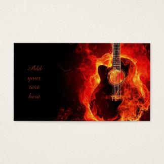 Chamas alaranjadas da guitarra ardente, cartões de