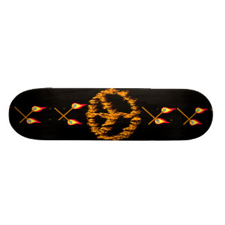 Chamas e sinal de paz dos corações shape de skate 18,4cm