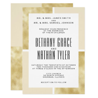 Champagne + Convite clássico do casamento do ouro