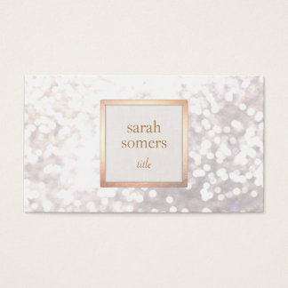 Chapa chique do ouro do brilho branco elegante de cartão de visita