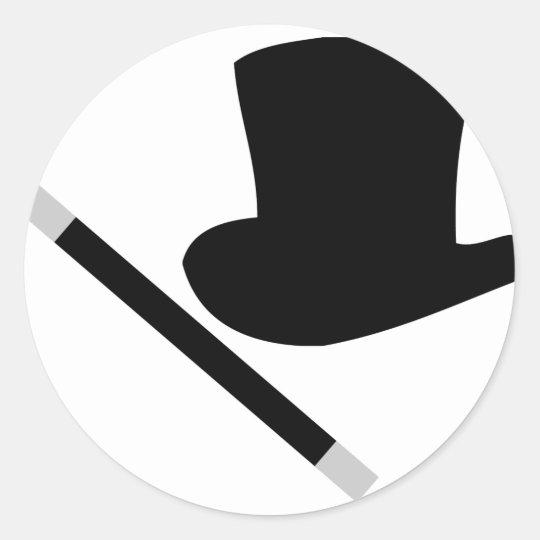 chapéu alto do mágico e varinha da mágica adesivo