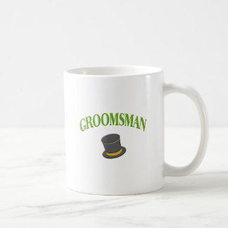chapéu alto do padrinho de casamento caneca de café