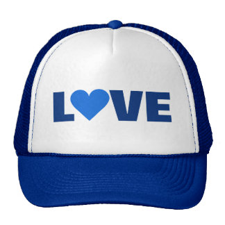 Chapéu azul do AMOR dos namorados do coração Bonés