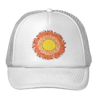 Chapéu bonito do camionista da flor - laranja bone