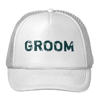 Chapéu branco do noivo do tema da rotulação da cer boné