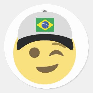 Chapéu de basebol de Brasil Emoji Adesivo