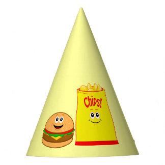 Chapéu De Festa Aniversário das microplaquetas do cheeseburger e
