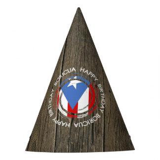 Chapéu De Festa Tema de Boricua do feliz aniversario na madeira