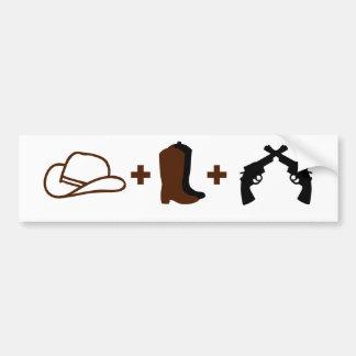 Chapéu de vaqueiro, botas e revólveres adesivo para carro