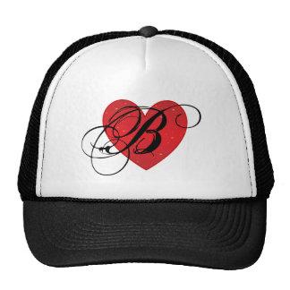 Chapéu do camionista do coração do monograma B Bone