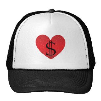 Chapéu do camionista do coração do símbolo do boné