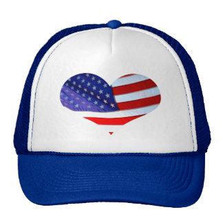 Chapéu do coração da bandeira americana boné
