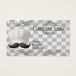 Chapéu do cozinheiro chefe com bigode cartão de visitas