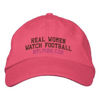 Chapéu do futebol do relógio das mulheres reais bone bordado