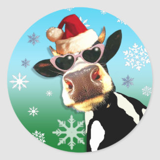 Chapéu do papai noel da vaca do Natal de Adesivos Em Formato Redondos