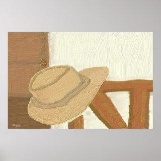 Chapéu dos homens na pintura da cadeira pôster