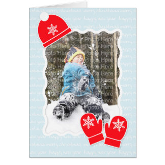 Chapéu & mitenes: Azul Cartão
