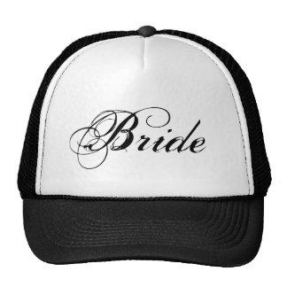 Chapéu simples branco preto da noiva boné