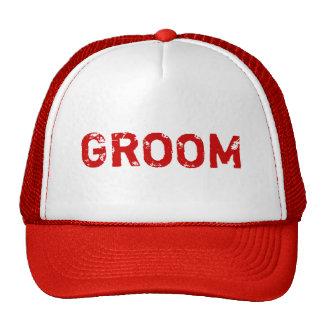 Chapéu simples do noivo do tema vermelho boné