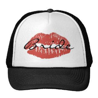 Chapéu vermelho da noiva do beijo dos lábios boné