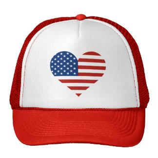 Chapéus do coração da bandeira dos E.U. Bonés