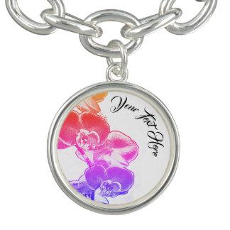 Charm Bracelet Orquídeas personalizadas