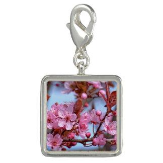 Charm Com Foto Estilo cor-de-rosa da flor de cerejeira