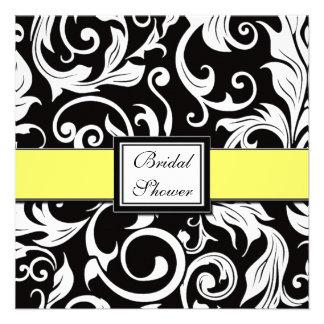 Chás de panela amarelos pretos do damasco convites
