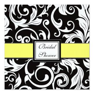 Chás de panela amarelos & pretos do damasco convite quadrado 13.35 x 13.35cm