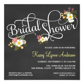 Chás de panela florais do quadro convite personalizados