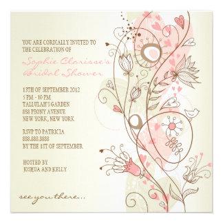 Chás de panela florais do vintage cor-de-rosa convites personalizado