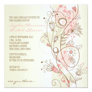 Chás de panela florais do vintage cor-de-rosa convite quadrado 13.35 x 13.35cm