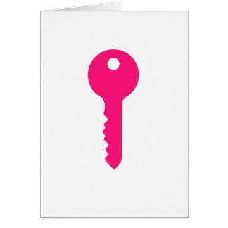 Chave cor-de-rosa cartão comemorativo