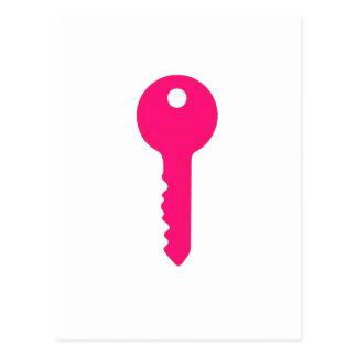Chave cor-de-rosa cartão postal