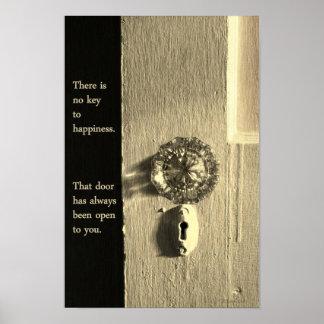 Chave da porta do vintage ao poster da felicidade pôster