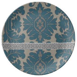 Chave decorativa da placa w/Greek do damasco azul Prato De Porcelana