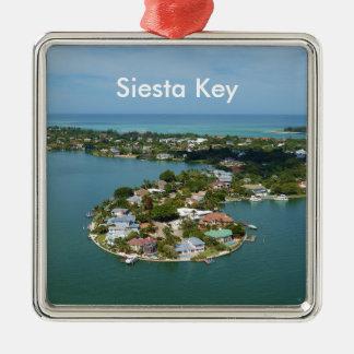 Chave do Siesta, Florida Ornamento Quadrado Cor Prata