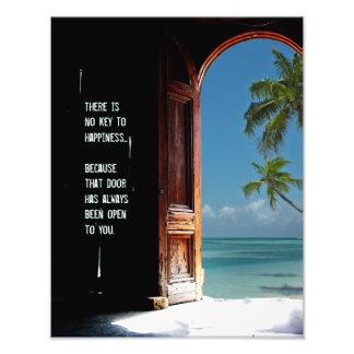 Chave tropical ao impressão da porta da felicidade fotografia