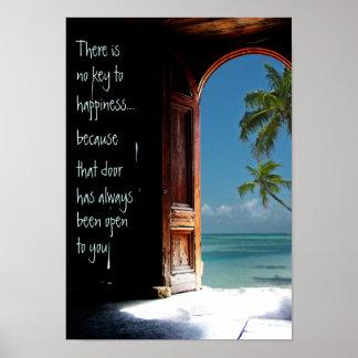Chave tropical ao poster da porta da felicidade