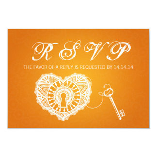 Chave Wedding elegante de RSVP a minha laranja do Convite 8.89 X 12.7cm