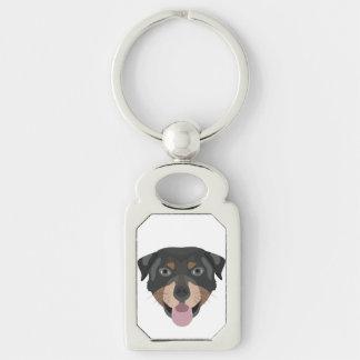 Chaveiro A ilustração persegue a cara Rottweiler