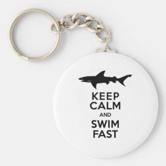 Chaveiro Aviso engraçado do tubarão - mantenha a calma e
