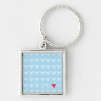 Chaveiro azul da palavra do amor dos corações