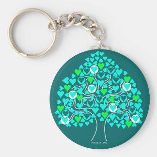 Chaveiro azul dos namorados da árvore do coração