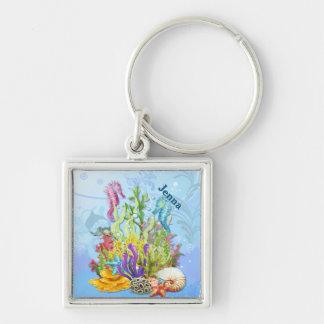 Chaveiro Azul tropical da vida marinha