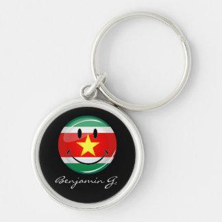 Chaveiro Bandeira redonda lustrosa de Suriname
