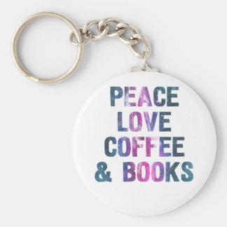 Chaveiro Café e livros do amor da paz